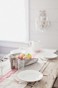 love this rustic kitchen...Vintage European Grain Sack Table Runner...love the table...