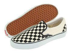 Vans Classic Slip-On™ Core Classics Black and White Checker/White (Canvas) - Zappos.com Free Shipping BOTH Ways