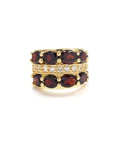 Look at this Garnet & White Topaz Double-Band Ring on #zulily today!
