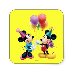 Mickey Mouse  Minnie Birthday Square Sticker