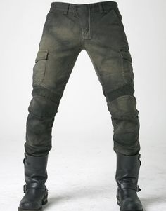 Stained Olive Motorpool Jeans by Ugly Bros. USA