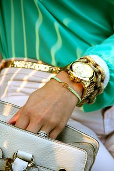 Gold chain bracelet with gold watch is perfection!