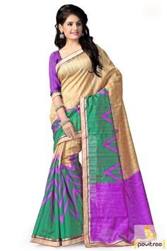Steal the show by wearing this amazing chikoo purple casual wear saree. It is having bright chikoo, green and purple colors combination on bhagalpuri fabric.   #sarees, #saree, #haltcreapesaree, #designersaree, #bhagalpurisaree, #partywearsaree, #casualsaree, #printedsaree, #sareewithblouse, #festivalsaree, #fashion