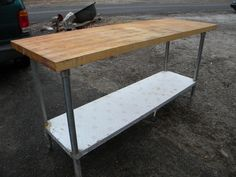 vintage commercial industrial restaurant bakers pastry chef BUTCHER BLOCK KITCHEN table ----pick up only. $295.00, via Etsy.