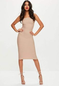Missguided Petite Nude Strapless Bandage Midi Dress Nude Dress Outfits a44b66b2fb83