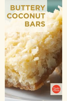 My coconut bars are an American version of a Filipino coconut cake called bibingka. These are a crispier, sweeter take on the Christmas tradition I grew up with. - Denise Nyland, Panama City, Florida Bar Cookies, Yummy Cookies, Cookie Bars, Summer Desserts, No Bake Desserts, Bar Recipes, Dessert Recipes, American Version, Cocktail Ideas