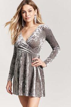c81bb3bfddd Velvet Surplice Skater Dress Grey Long Sleeve Dress
