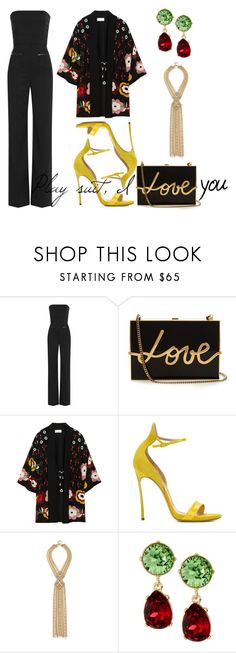 """""""In love with play suit"""" by leila-image-style ❤ liked on Polyvore featuring Maison Margiela, Lanvin, RED Valentino, Casadei, Capwell + Co and Kenneth Jay Lane"""