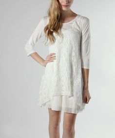 Take a look at this Off-White Layered Lace Three-Quarter Sleeve Dress on zulily today!