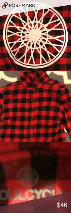 Soul cycle plaid flannel Great button down plaid flannel by soul cycle soulcycle Tops Button Down Shirts