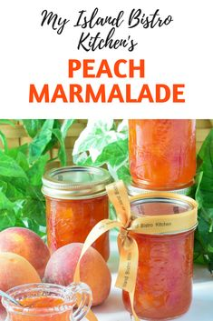 Perfect Peach Marmalade Recipe - My Island Bistro Kitchen - Amazing Foods Menu Recipes Peach Marmalade Recipe, Peach Preserves Recipe, Making Marmalade, Jelly Recipes, Jam Recipes, Fruit Recipes, Peach Harvest Recipes, Cooker Recipes, Sweets