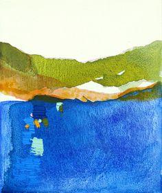 "Large Abstract Landscape Painting, blue, green, orange, 25 x 30"" ORIGINAL fine art -- ""The Lake - Evening"""