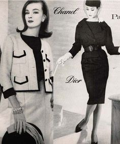 Suits by Chanel and Dior-Henry Clarke Photographer-March Vogue 1959