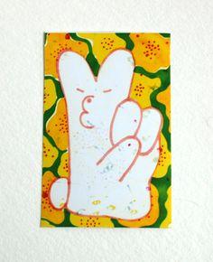 Bunny Peace sticker. Ginette Lapalme.