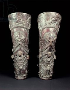Pair of Greaves, Court of the Gladiators, Pompeii, 69-96 AD (bronze)