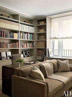 In a cozy New York library, the sofa is covered in a neutral velvet.