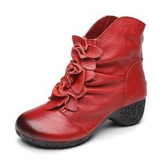 SOCOFY Retro Ankle Low Heel Floral Zipper Soft Leather Boots - US$59.99