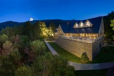 ❥ The entrance to The Cove ~ Billy Graham Training Center.  The training center at night
