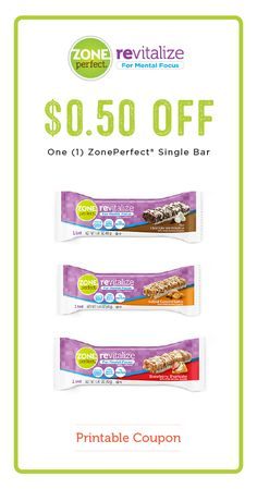 Wondering what everyone's talking about with the delicious ZonePerfect® Revitalize Nutrition Bars? Try them out for yourself and score this $0.50 off printable coupon on your choice of a ZonePerfect® Single Bars! Who wouldn't love snacks that help keep you going throughout the day—from back-to-school and meal planning to after-school activities and work. These delicious treats are your partner in checking off that to-do list!