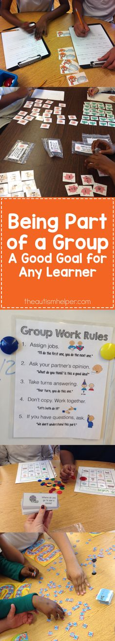 Working in a group is a great goal for any of our learners. How complex you make this goal depends on the skill level of your student, so visit our blog for some awesome group work options!! From theautismhelper.com #theautismhelper