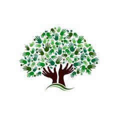 Friendship connection tree image. Hands on hand tree logo — Stock Illustration #47788399