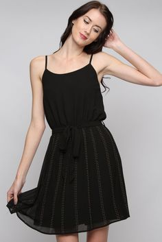 Black Gold Dotted Lani Dress