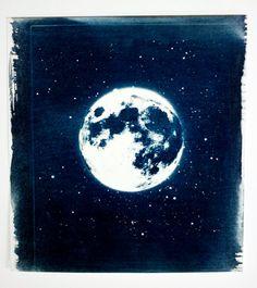 Moonscape handmade cyanotype (original) by Adam Ottavi Gerhard Richter, Cyanotype Process, Sun Prints, Cyan Blue, Indigo Blue, Alternative Photography, Experimental Photography, Stamp Printing, Les Oeuvres