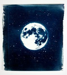 Moonscape handmade cyanotype (original) by Adam Ottavi $100