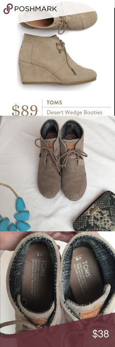 TOMS Desert Wedge Booties, Taupe, size 6 Very good pre-loved condition taupe booties from TOMS via StitchFix. These comfortable ankle boots are the perfect addition to any wardrobe. Wear with rolled jeans or a skirt. Smoke free home. VERY light wear on toes, see pictures. Toms Shoes Ankle Boots & Booties