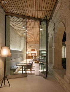 Jouin Manku's renovation of a priory at the namesake abbey in Fontevraud-l'Abbaye, France, included turning the refectory into an events space. The tabletop and the ...