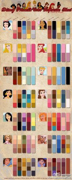 Disney Princess Color Chart- useful for manicure color combos