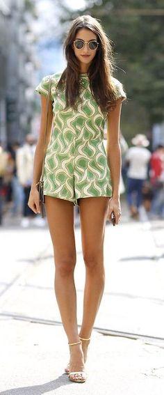 #summer #fashion / green pattern print romper