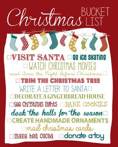 Christmas Bucket List - Now…..who wants to do it with me?!