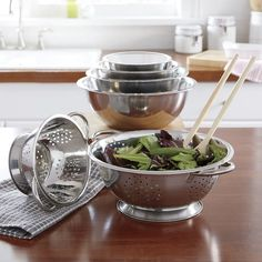Meet all your mixing and straining needs and add a little of the look you love to your kitchen at the sa.Buy Now, Pay Later Credit Shopping at Seventh Avenue! Double Boiler, Dish Racks, Blue Bowl, Mixing Bowls, Melting Chocolate, Stainless Steel, Tableware, Households, Decor Ideas