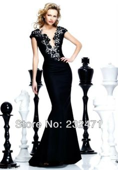 all size free shippingSexy Black Long Mermaid Cap-Sleeve Formal Pageant Party Prom Gown Evening Dress $100,30