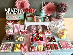 Party Table Baby Candy Bars Ideas For 2019 Candy Table, Candy Buffet, Dessert Table, Party Snacks, Appetizers For Party, Deco Candy Bar, Candy Bar Comunion, Bar A Bonbon, Baby Candy