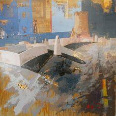 """Urbana Rustica VIII - Torre y Cuevas Paterna Collage + Acrílico  100 X 100 cm..  2010. Seleccionado en: XXXIV Concurso Nacional de Pintura """"Casimiro Sainz"""" Reinosa Cantabria 2011."""