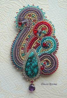 Brooch Paisley style  Olga Orlova