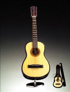 "Miniature 9"" Steel String Guitar Music Box, Plays Hey Jude"