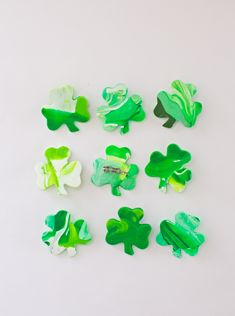 St. Patrick's Day marbled clay pins