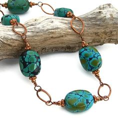 Turquoise Copper Handmade Necklace Wire Wrap Gemstone Summer Jewelry by Shadow Dog Designs http://www.artfire.com/ext/shop/product_view/ShadowDogDesigns/4908624