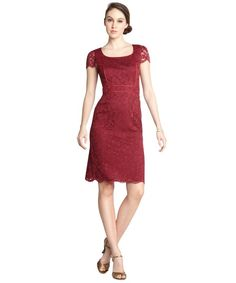 A.B.S. by Allen Schwartz : burgundy stretch lace piping cap sleeve dress : style # 324564101 $92