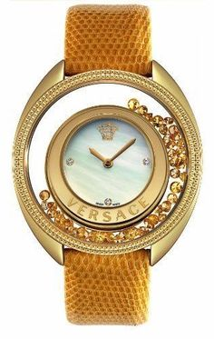 Check out new Versace glamorous line of Women's fashion Watches. Enjoy your time with a luxury watch, available on the Versace US Online Store. Versace Jewelry, Luxury Jewelry, Brown Leather Watch, Yellow Leather, Gianni Versace, Versace Versace, Versace Glasses, Versace Logo, Swarovski Watches