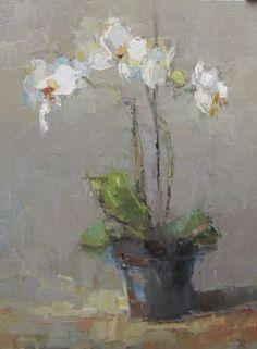 "Barbara Flowers, ""Orchids"", Oil on Canvas, 40x30 - Anne Irwin Fine Art:"