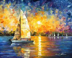 Sailboat, Leonid Afremov Simple Oil Painting, Yellow Painting, Oil Painting On Canvas, Oil Paintings, Painting Portraits, Painting Art, Pinterest Pinturas, Sailboat Painting, Boat Art