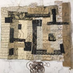 """""""WIP inspired by Anselm Kiefer and Natalya Aikens. Fabric was my medium before taking up paint and paper so once I got started I couldn't stop. I plan to…"""""""