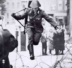 East German soldier named Hans Conrad Schumann who famously defected to West Germany during the construction of the Berlin Wall in I love this photo! European History, World History, World War Ii, American History, Berlin Hauptstadt, German Soldier, Ddr Museum, Art Mur, East Germany