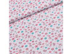 Bavlněné plátno Kevin KE007/01 růžové a tyrkysové květy na bílé, š.160cm (látka v metráži) | TextilCentrum.cz Floral Tie, Scrappy Quilts, Floral Lace