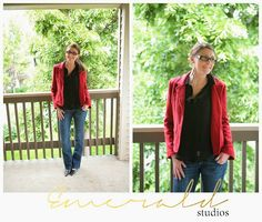 funky young professional outfits what to wear red jacket and jeans Emerald Studios Blog