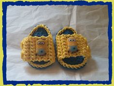 Baby Minion Sandals Handmade Crochet Newborn to 3 months by HaldaneCreations on Etsy